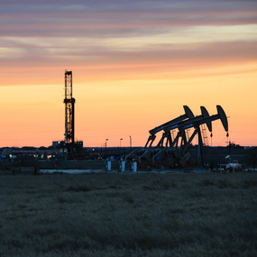 Drilling Rig and Oil Pumps in Midland
